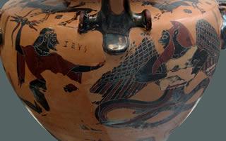 Combattimento tra Zeus e Tifone in una hydra calcidese di fine VI sec a.C.