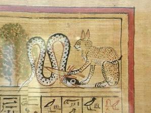 Dea ghepardo, probabilmente Mafdet, taglia la testa ad Apophis, il drago delle tenebre.
